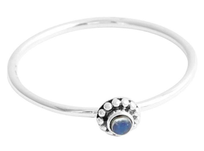Australia Dainty Beaded Flower Ring Blue  faceted