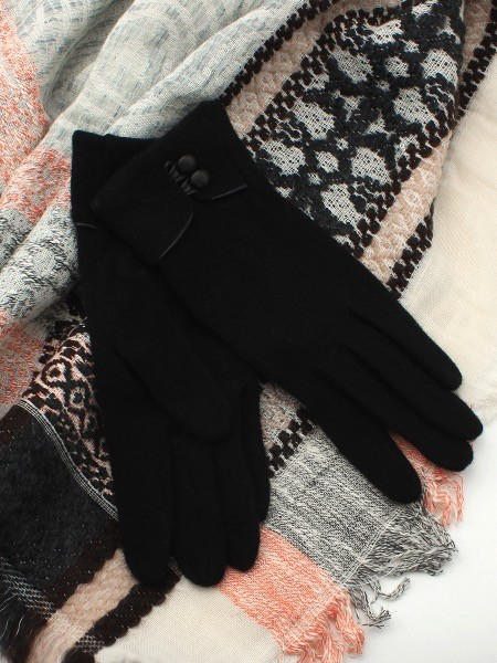 Australia Black Wool 2 Button Glove