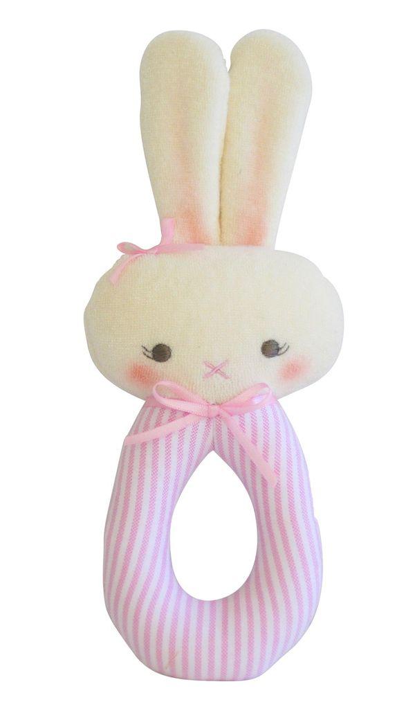 Australia Bunny Grab Rattle - Pink Stripe