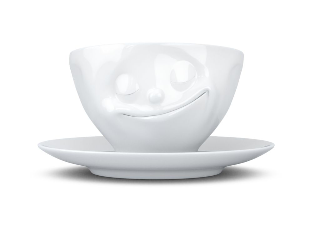 """Europe Coffee Cup """"happy"""" white"""