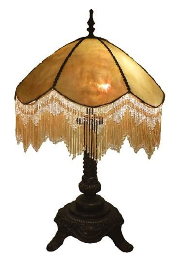 Australia 18in BEADED BEIGE LEADLIGHT LAMP