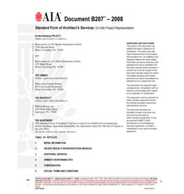 B207–2008 (formerly B352–2000), Standard Form of Architect's Services: On-Site Project Representation