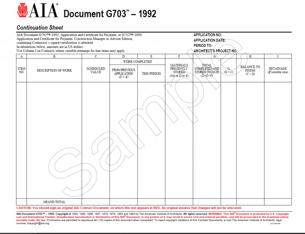 G703–1992, Continuation Sheet for G702 - AIA Bookstore