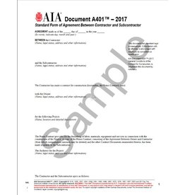 A401–2017, Standard Form of Agreement Between Contractor and Subcontractor