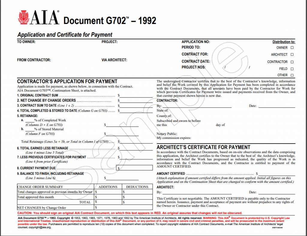 g702 1992 application and certificate for payment aia With aia documents g702 and g703