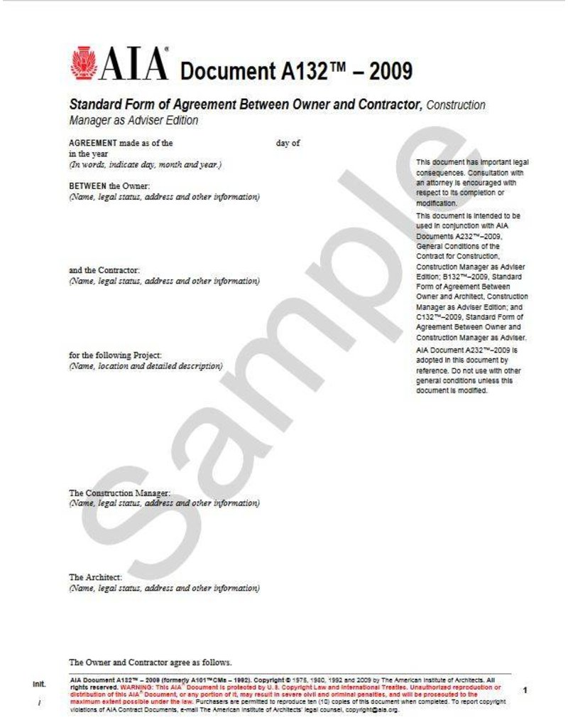 A132–2009 Standard Form of Agreement Between Owner and Contractor, Construction Manager as Adviser Edition