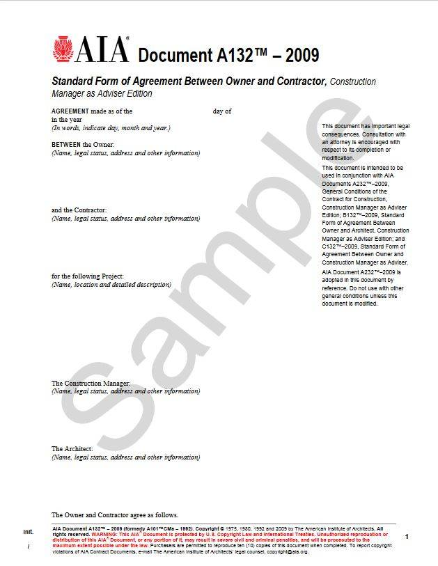 A132–2009 Standard Form Of Agreement Between Owner And Contractor