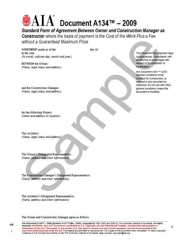 A134 2009 standard form of agreement between owner and for Cost plus a fee contract form for homebuilding