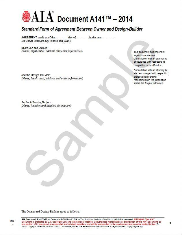 A1412014 Standard Form Of Agreement Between Owner And Design