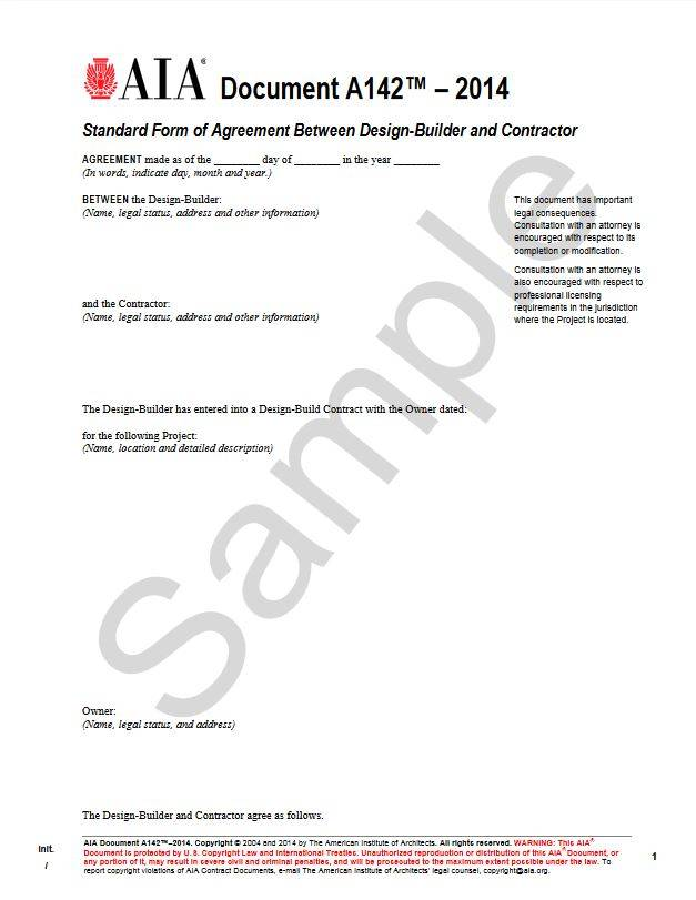 A142–2014, Standard Form of Agreement Between Design-Builder and Contractor