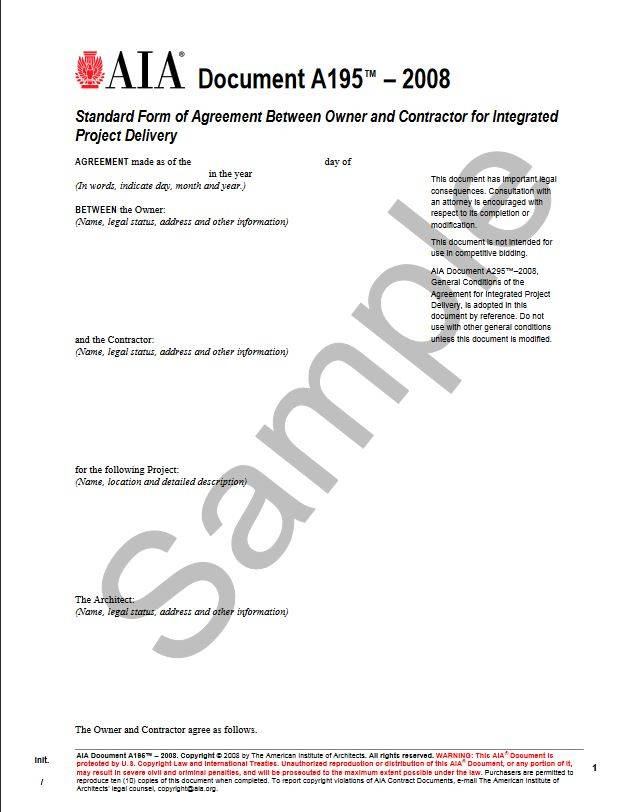 A1952008 Standard Form Of Agreement Between Owner And Contractor
