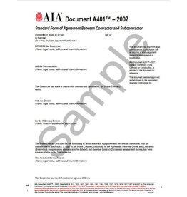 A401–2007, Standard Form of Agreement Between Contractor and Subcontractor