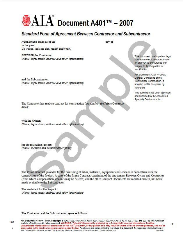 A401–2007, Standard Form Of Agreement Between Contractor And