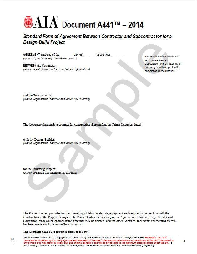 A441–2014, Standard Form Of Agreement Between Contractor And