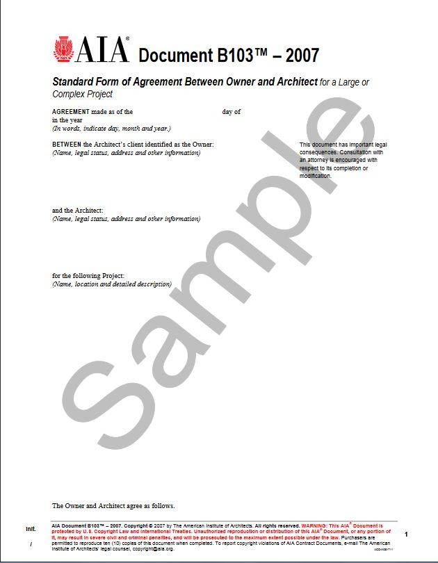 B103–2007, Standard Form of Agreement Between Owner and Architect for a Large or Complex Project