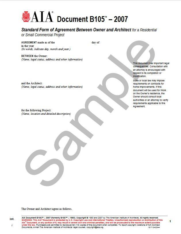 B1052007 Formerly B1551993 Standard Form Of Agreement Between