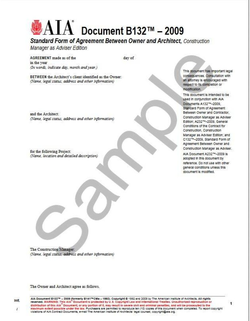 B132–2009 (formerly B141CMa–1992), Standard Form of Agreement Between Owner and Architect, Construction Manager as Adviser Edition