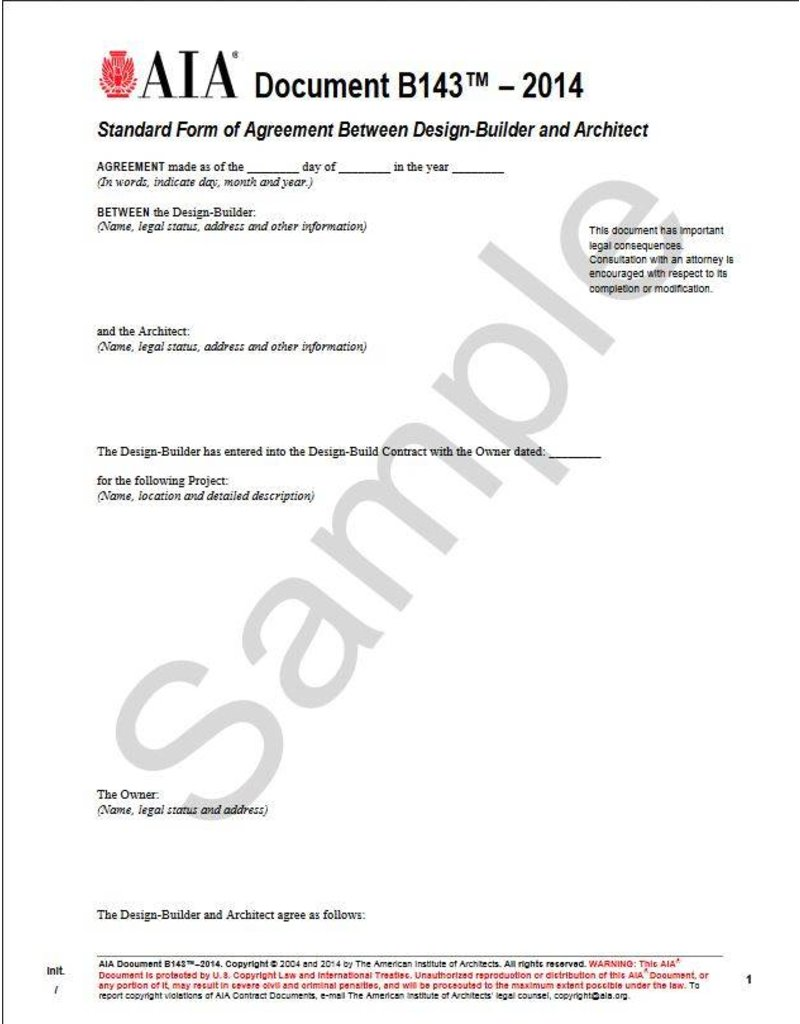 B143 2014 Standard Form Of Agreement Between Design Builder And Architect