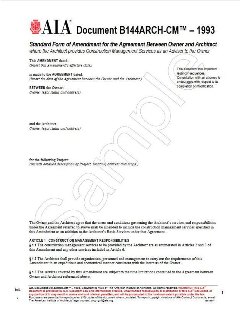 B144ARCH-CM–1993, Standard Form of Amendment to the Agreement Between Owner and Architect where the Architect provides Construction Management Services as an adviser to the Owner