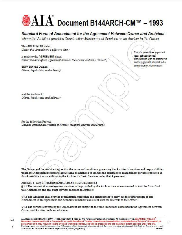 B144ARCH-CM–1993, Standard Form of Amendment to the Agreement ...