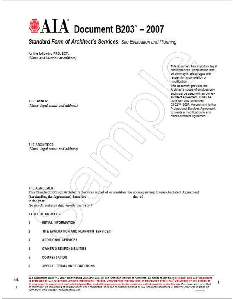 B203-2007 Standard Form Of Architects Services Site Evalution And Planning