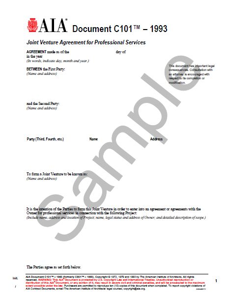 C101 Joint Venture Agreement For Professional Srevices - Aia Bookstore