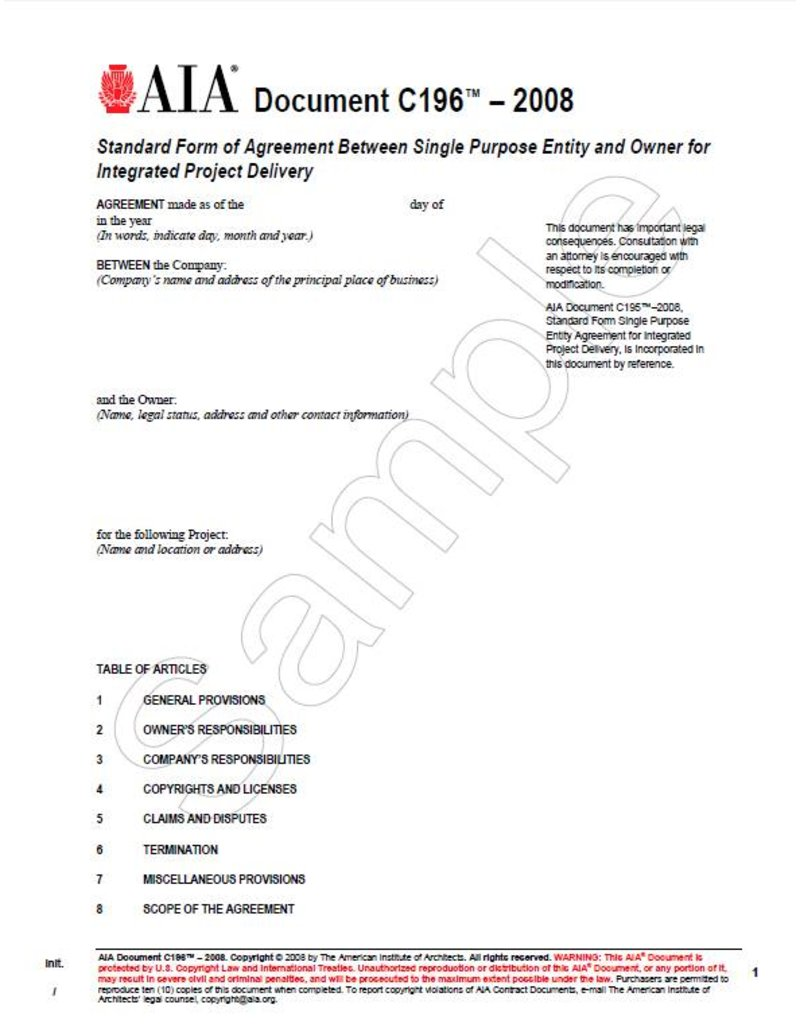 C196-2008 Standard Form of Agreement/single purpose ent/owner IPD