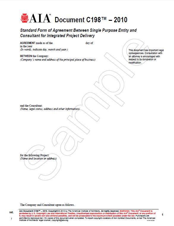 C198–2010, Standard Form of Agreement Between Single Purpose Entity and Consultant for Integrated Project Delivery
