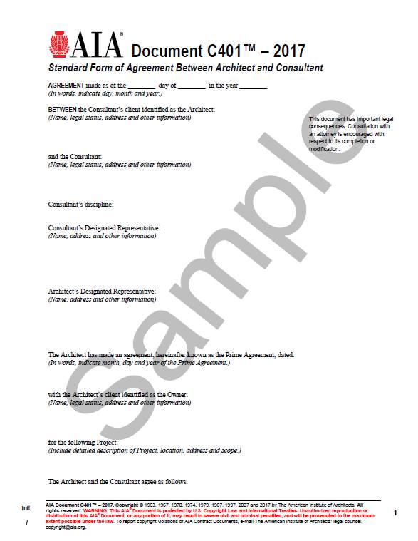 C Standard Form Of Agreement Between Architect And