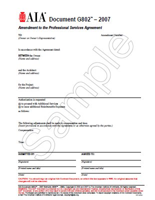 G802-2007 Amendment Of The Professional Services Agreement (Pack of 50)