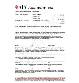 G704–2000, Certificate of Substantial Completion