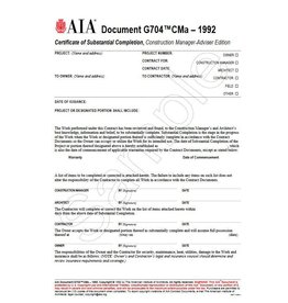 G704CMa–1992, Certificate of Substantial Completion, Construction Manager-Adviser Edition