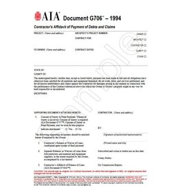 G706–1994, Contractor's Affidavit of Payment of Debts and Claims
