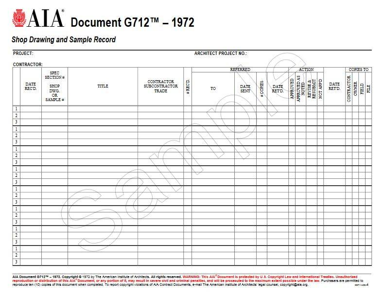 shop drawing log template - g712 1972 shop drawing and sample record aia bookstore