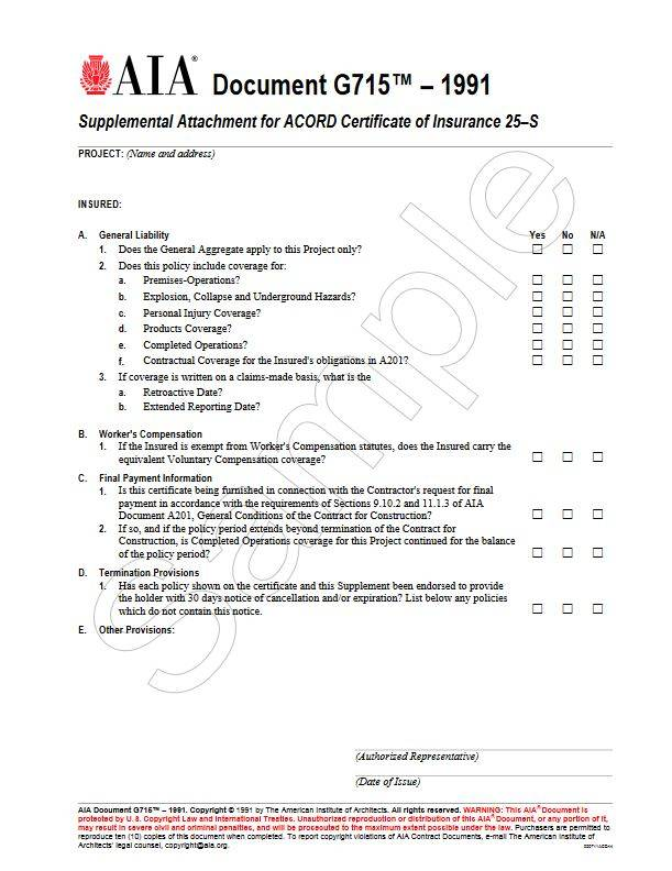 G715–1991, Supplemental Attachment for ACORD Certificate of ...