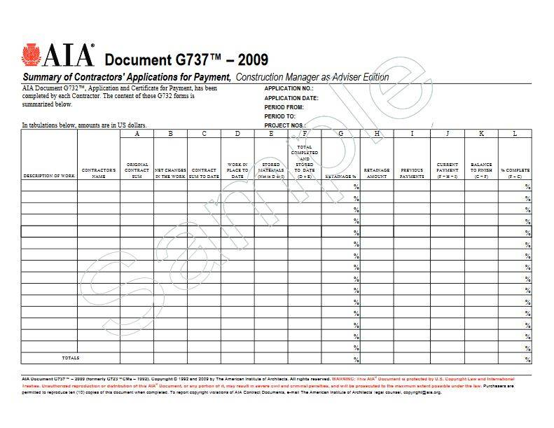 G737–2009 (formerly G723CMa–1992), Summary of Contractors' Applications for Payment, Construction Manager as Adviser Edition (Pack of 50)