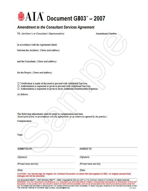 G803 2007 Amendment To The Professional Services Agreement Aia