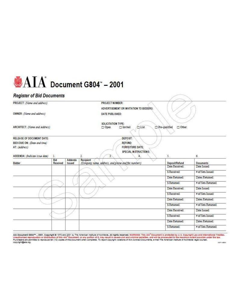 G804–2001, Register of Bid Documents