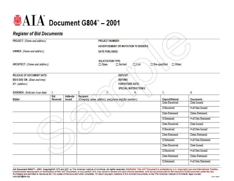 G804–2001, Register of Bid Documents - AIA Bookstore