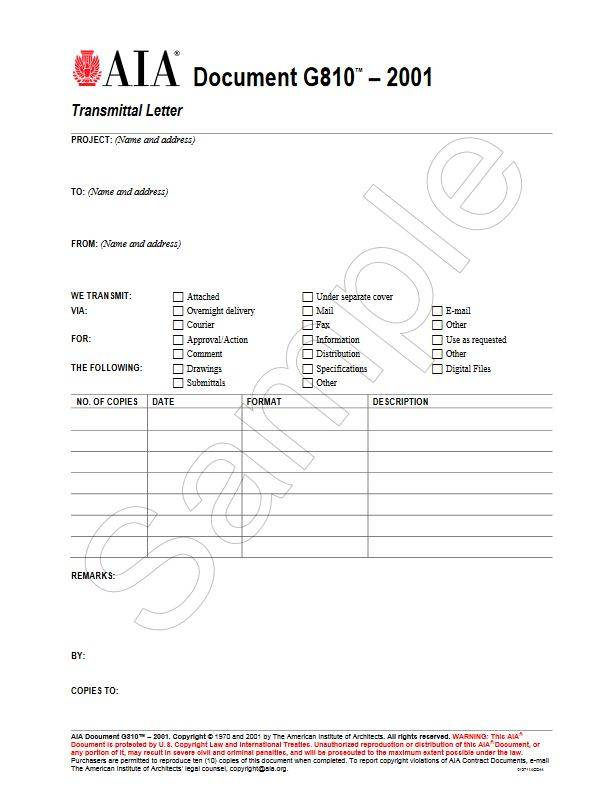 G810–2001, Transmittal Letter (Pack of 50)
