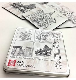 Philadelphia Architecture Napkin Sketches Coaster Set #1