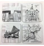 Philadelphia Architecture Napkin Sketches Coaster Set #1