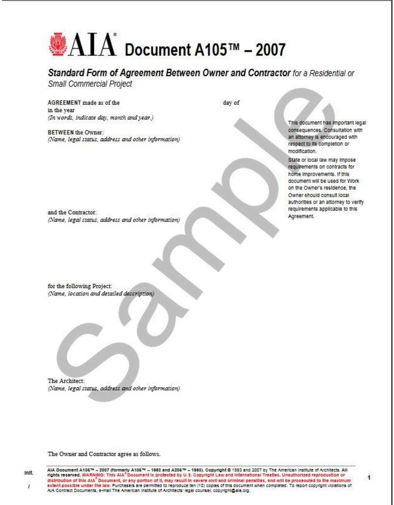 A105- 2007 Standard Short Form of Agreement Between Owner and ...