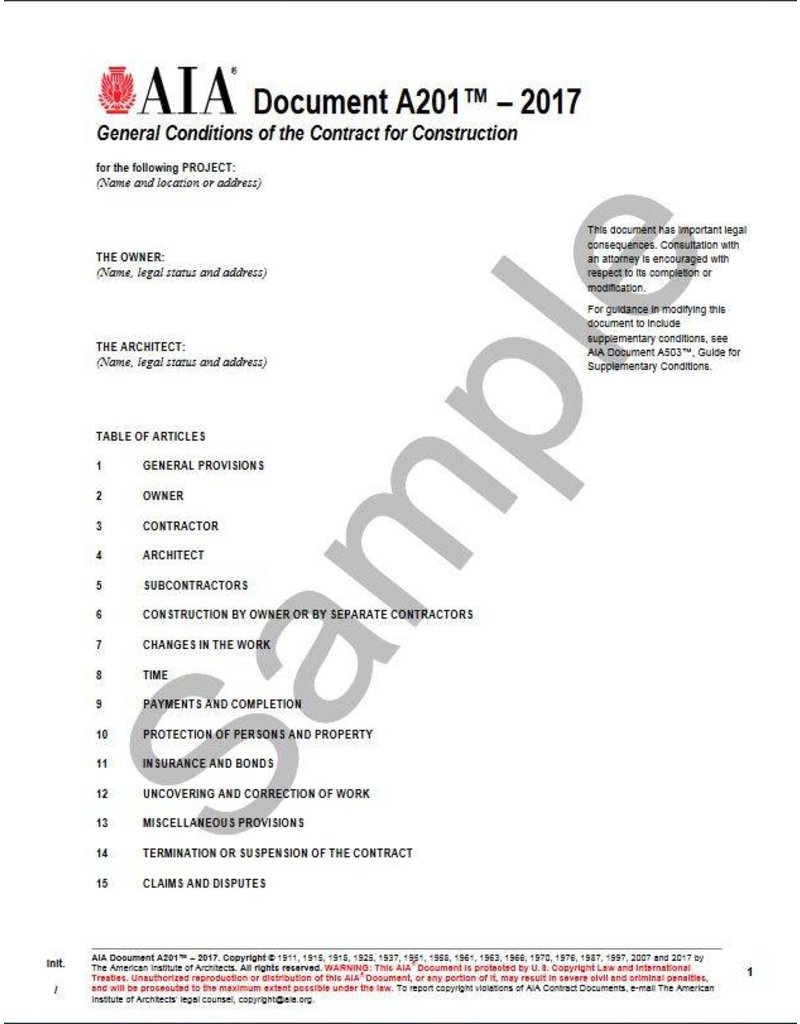A201- 2017 General Conditions of the Contract for Construction