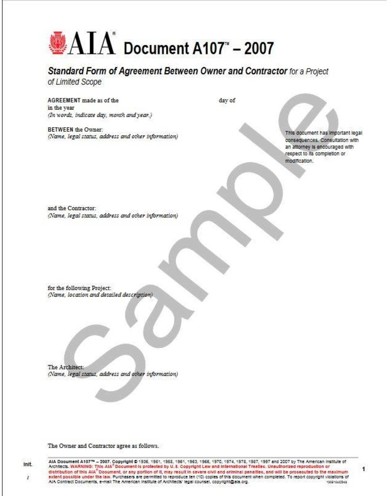 A107-2007 Standard Form of Agreement Between Owner and Contractor for a Project of Limited Scope