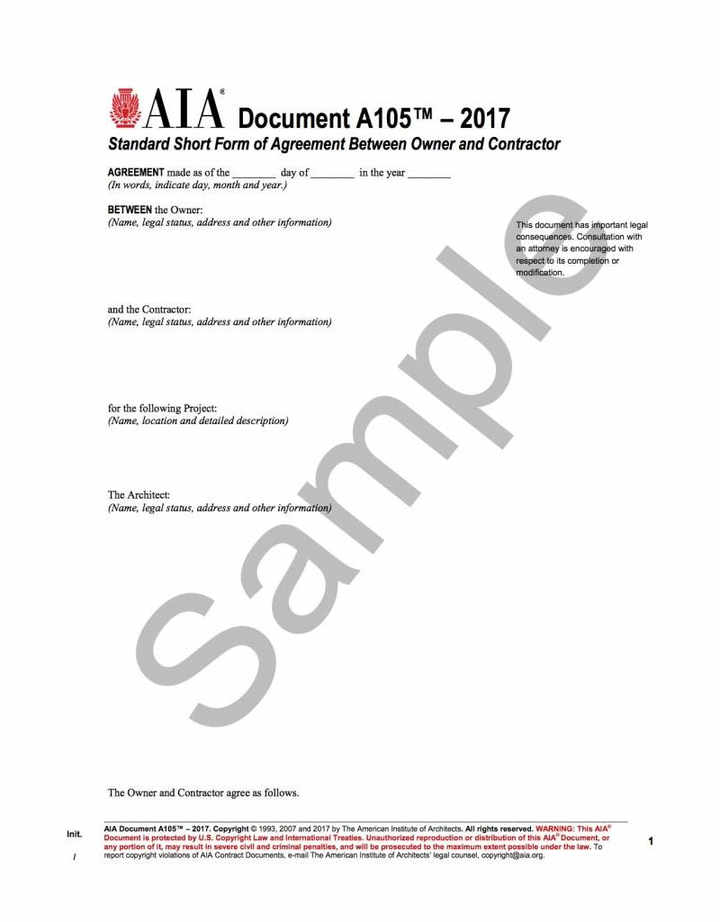 A105–2017 (formerly A105–1993 and A205–1993), Standard Form of Agreement Between Owner and Contractor for a Residential or Small Commercial Project
