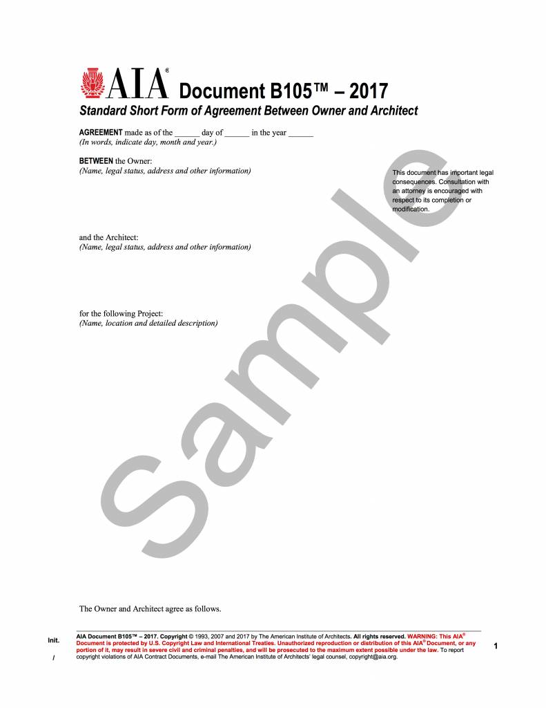B105–2017 (formerly B155–1993), Standard Form of Agreement Between Owner and Architect for a Residential or Small Commercial Project