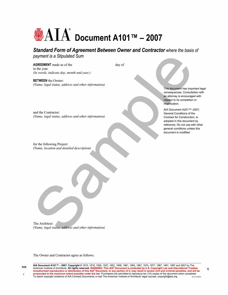 A Standard Form Of Agreement Between Owner And Contractor - Aia contract template