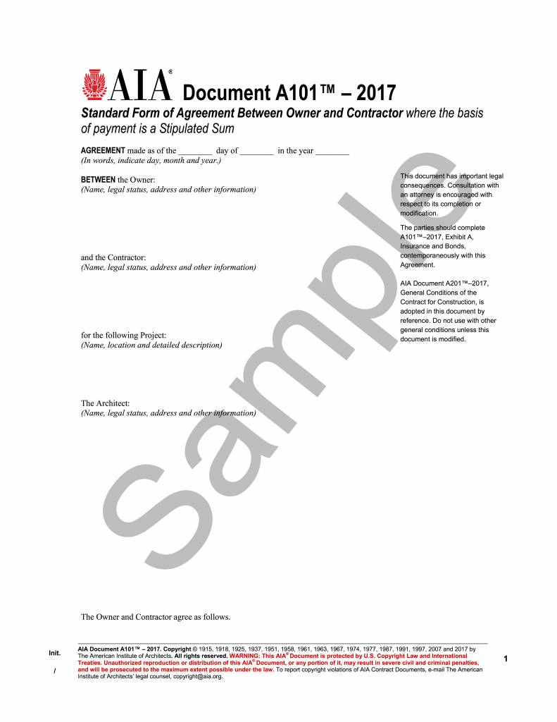 A1012017 Standard Form Of Agreement Between Owner And Contractor