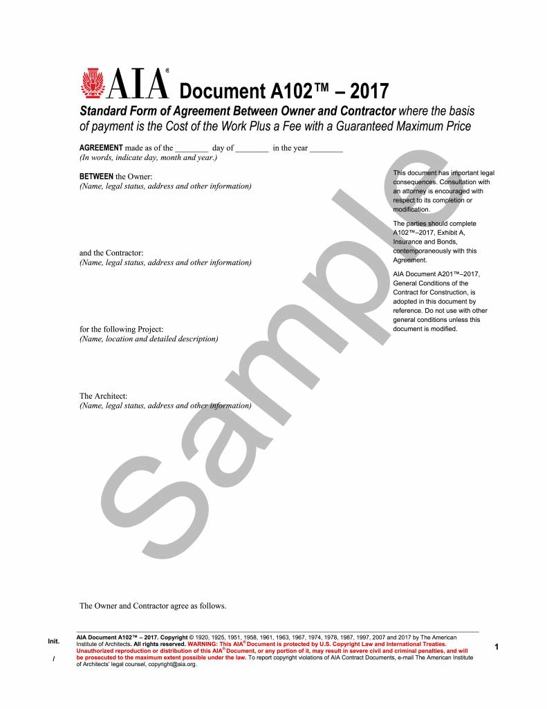 A102 2017 standard form of agreement between owner and for Cost plus contract form